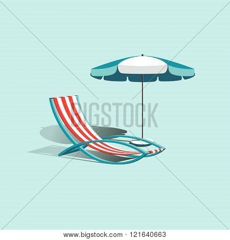 Beach umbrella with deck chair