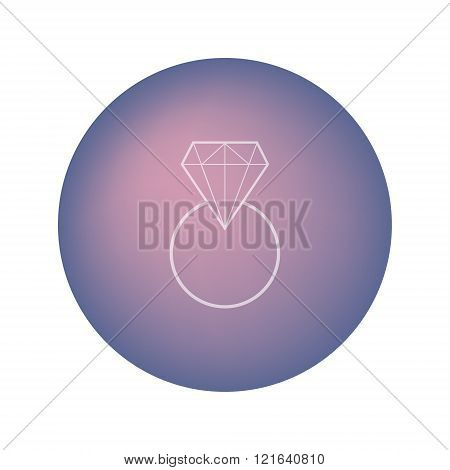 Wedding ring with diamond on blurred background