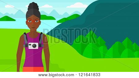 Woman with camera on chest.
