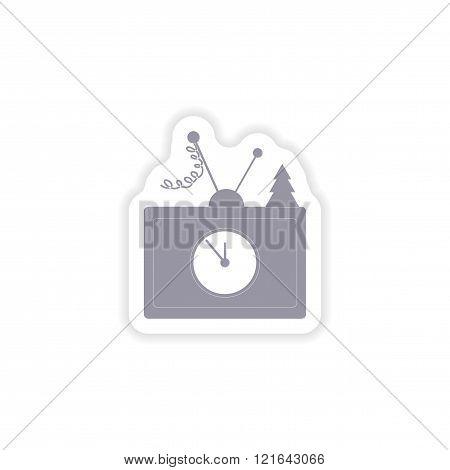 paper sticker on white background TV antenna