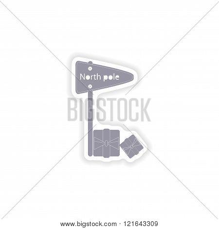 paper sticker on white background pointer North Pole