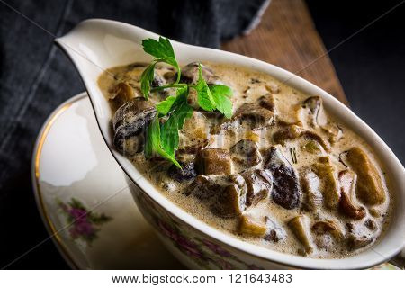 Mushroom Sauce With Parsley In A Sauceboat