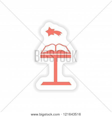 paper sticker on white background Open Bible