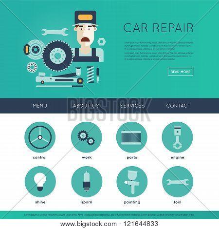Car service. Auto mechanic repair of machines and equipment. Car diagnostics. Engine repair, paintin