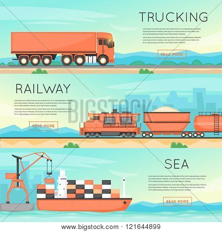 Cargo transportation by road, train, and ship. Logistic concept, cargo transportation, freight. Flat