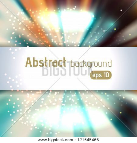 Background With Colorful Light Rays. White, Blue, Orange Colors. Abstract Background. Vector Illustr