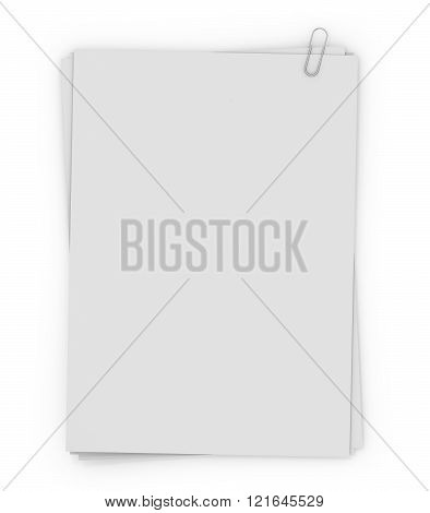 Stack Of Paper Stamped Paper Clip, Isolated On White Background.