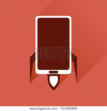 Flat web icon with long shadow mobile rocket
