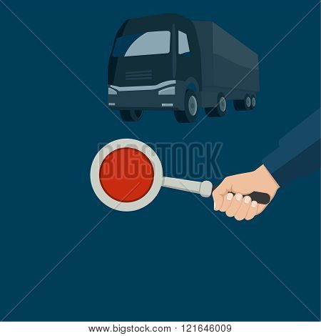 The police officer's hand holding a disk staff. The car on a night background. Vector illustration.
