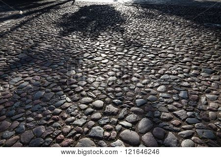 Abstract Background Of Cobble Stone Road