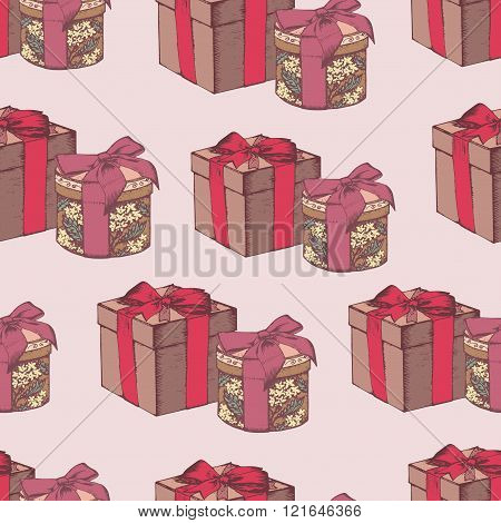 Vector seamless pattern with hand drawn gift boxes.