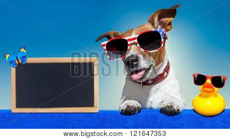 summer vacation dog blackboard