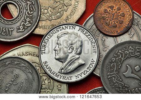 Coins of Turkmenistan. Turkmen president Saparmurat Niyazov depicted in the Turkmenistan 50 tenge coin.