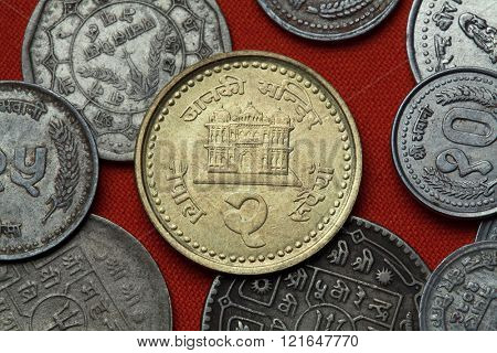 Coins of Nepal. Janaki Mandir Temple in Janakpur, Nepal depicted in the Nepalese two rupee coin.