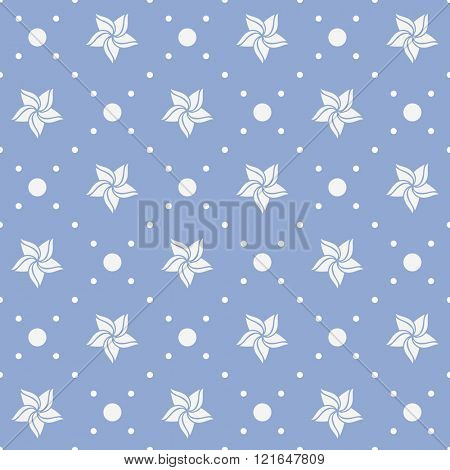 Seamless pattern. Holiday ornament with flowers and dotted rhombuses in Serenity color background.