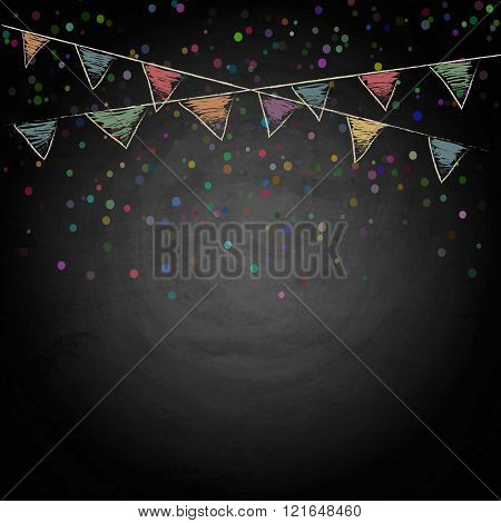 Chalkboard Background With Drawing Bunting Flags