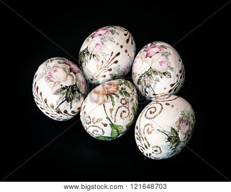 Colorful Easter Eggs On The Dark Background, Symbol Of Springtime