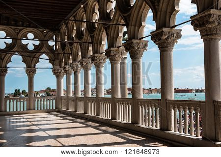 VENEZIA, ITALY -MAY 2015:  Arcade of the Doge's Palace: Gothic architecture in Venice, Italy