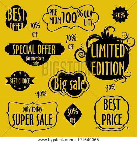 Vintage badges, stickers, labels. Creative graphic design elements. Unique shapes. Isolated on yello