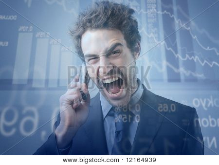 Stock exchange broker screaming to telephone