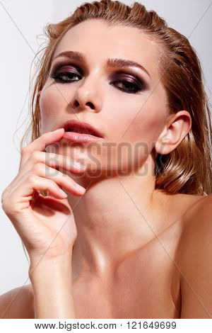 Sensual Women With Professional Makeup And Wet Hair