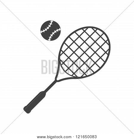 Tennis Racket And Ball Black Icon.
