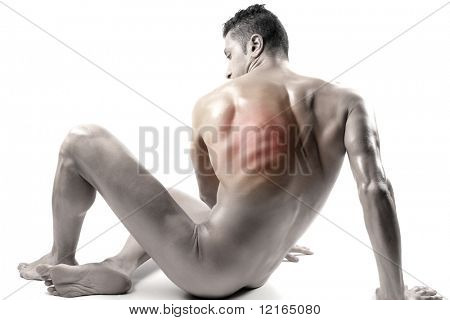 Seated man with backache