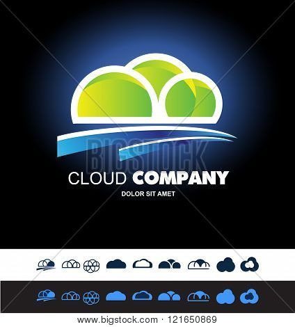 Cloud Hosting Storage Logo Icon Set