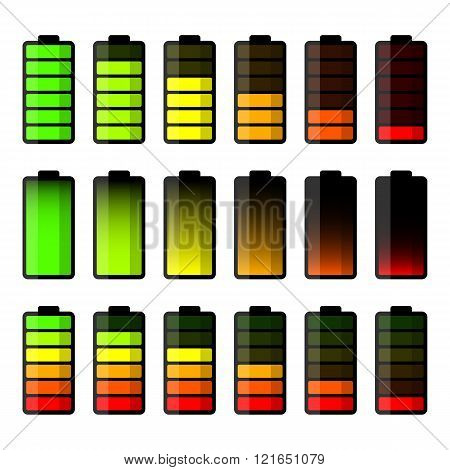 Battery icon set. Set of battery charge level indicators
