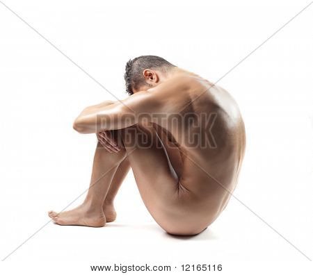 Seated naked man