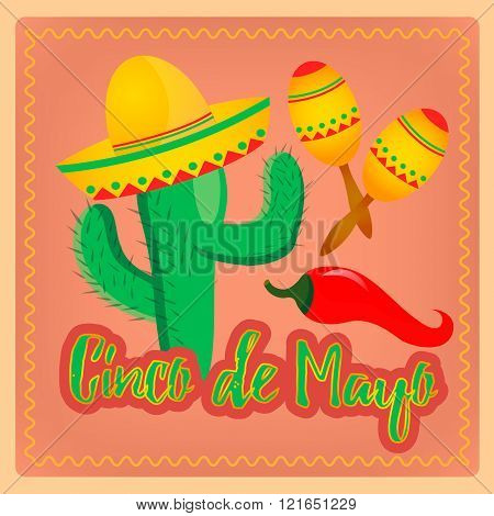 Cactus In Sombrero Hat Mexican Maracas And Chili Peppers As A Mexican Cinko De Mayo Accessories