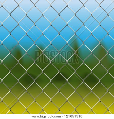 Vector metal mesh fence with blue-green background