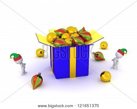 3D Characters And Large Gift Box With Decorative Globes