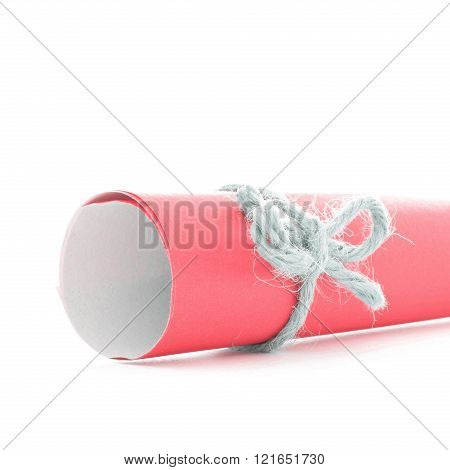 Handmade Natural Cord Node Tied On Red Paper Scroll Isolated