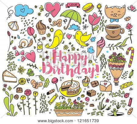 Happy Birthday card illustration with colorful objects.