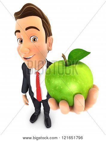 3D Businessman Holding Green Apple