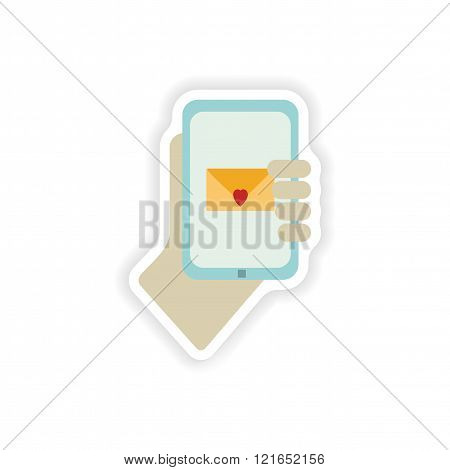 stylish paper sticker on white background romantic sms