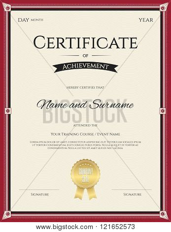 Certificate Of Achievement Template In Vector For Graduation Completion