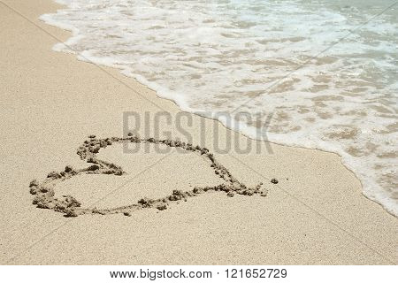 Heart Trace In The Sand Seashore