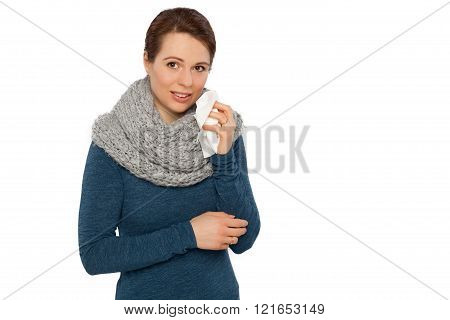 Woman with scarf and tissue