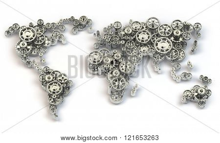 Global economy connections and international  business concept. Map of the world from gears. 3d