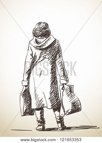 Sketch of walking tall man with backpack on one shoulder, Hand drawn illustration