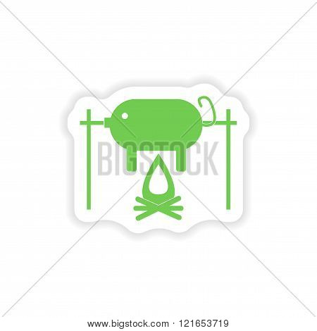 paper sticker on white background pig on fire
