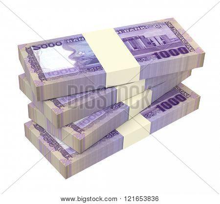 Bangladeshi taka bills isolated on white background. Computer generated 3D photo rendering.