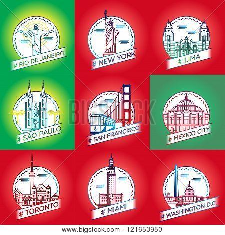 Vector Line Rio De Janeiro, New York, Lima, São Paulo, San Francisco, Mexico City, Toronto, Miami,