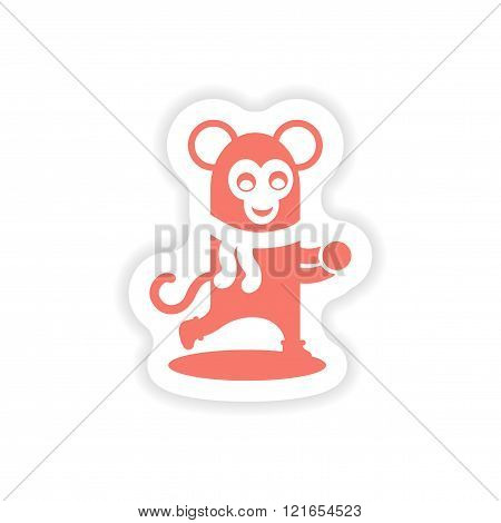 paper sticker on white background  monkey snow