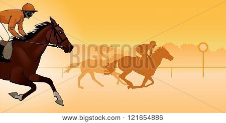 Horse Racing. Competition. Horse racing at the racetrack. Silhouettes of riders on a colored background. color image