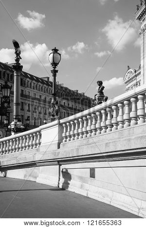 West Facade Of Grand Opera (opera Garnier) In Black And White , Paris, France