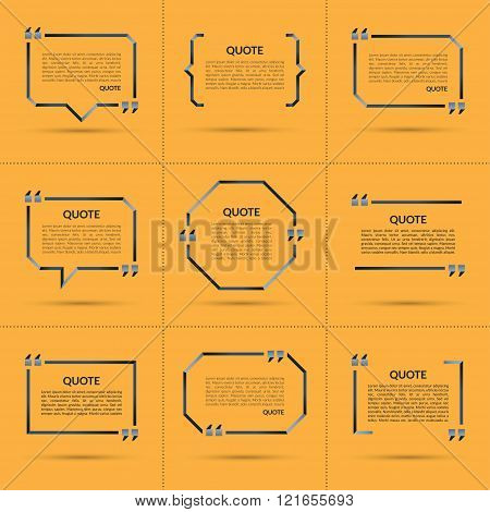 Set of vector quote templates