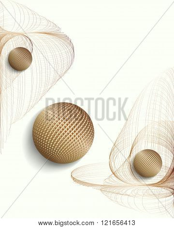 3d-illustration-with-fractals-and-rolling-golden-spheres